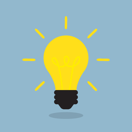 bright light bulb, creative idea concept. vector illustration