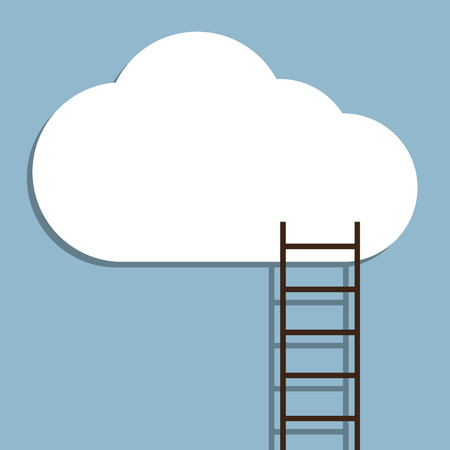 business opportunity: ladder to cloud, creative idea concept. vector illustration