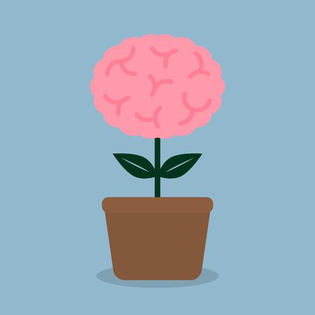 psychiatrist: brain plant in pot, creative idea concept. vector illustration Illustration