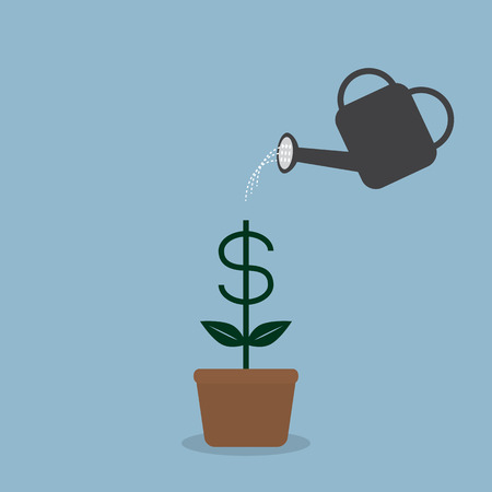 watering money dollar coin plant with watering can, business invesment growth. vector illustration