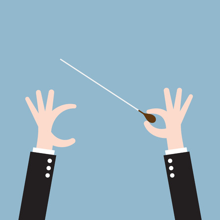 orchestra: music orchestra conductor hand with baton, leadership. vector illustration