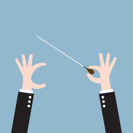 orquesta de música lado conductor con el bastón, el liderazgo. ilustración vectorial