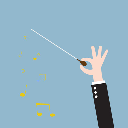 maestro: music orchestra conductor hand with baton, leadership. vector illustration