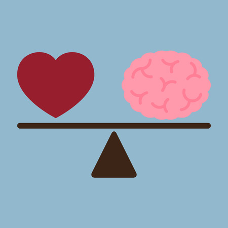 red love heart and brain on weight scale, love thinking concept. vector illustration.
