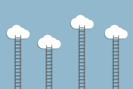 opportunity concept: ladder to cloud, creative idea concept. vector illustration