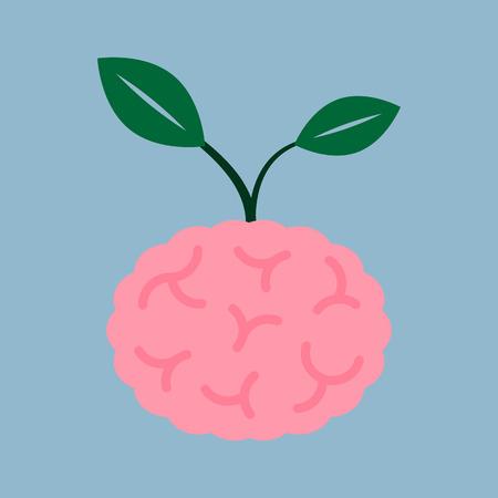 seed plant: brain seed plant, creative idea concept. vector illustration Illustration
