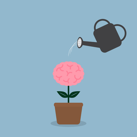 business growth: watering brain plant with watering can, creative idea concept. vector illustration