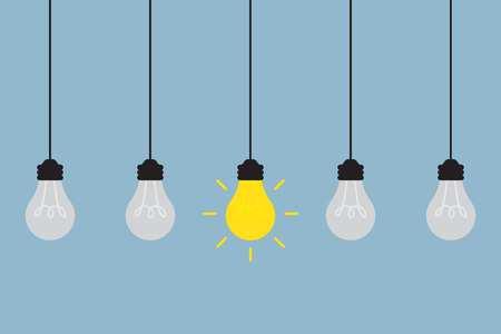 bright light bulb different among the others, creative idea concept. vector illustration