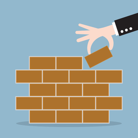 brick: hand of businessman lay bricks, business start from first brick. vector illustration