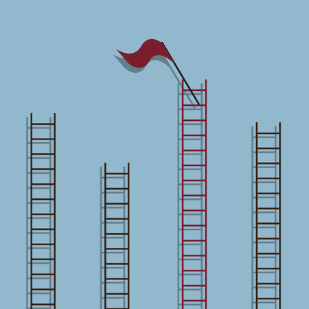 ladder success: red ladder with red flag on top among other ladder, success creative idea concept. vector illustration Illustration