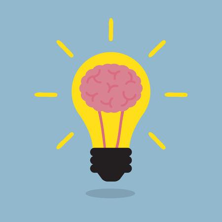 cerebro: bombilla cerebro, idea creativa. ilustración vectorial