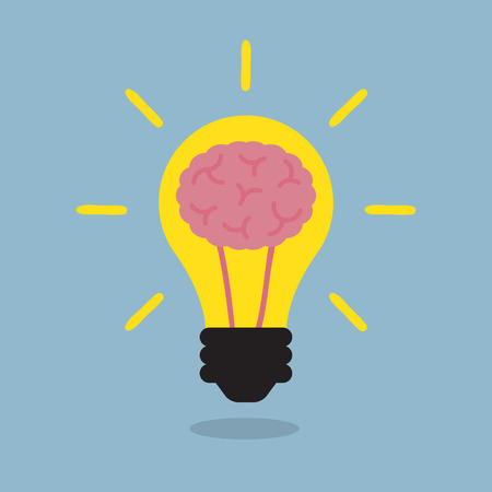 lamp power: brain light bulb, creative idea. vector illustration