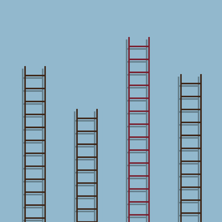 different idea: red ladder different from other ladder, success creative idea concept. vector illustration