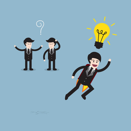 different idea: businessman think different, think different idea concept. vector illustration
