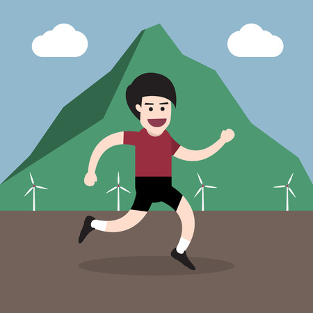 jogging in nature: running man with mountain and wind turbines landscape health concept. vector illustration Illustration