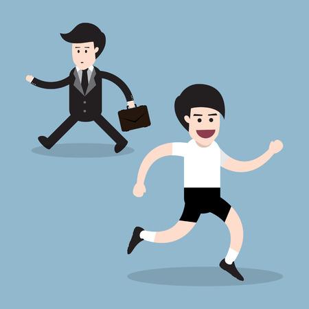oppos: courir homme d'affaires marchant direction oppos�e, le concept de la sant�. illustration vectorielle