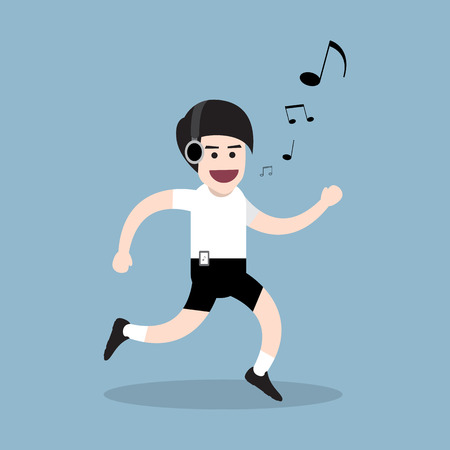 whistling: running man with listening music and whistling, health concept. vector illustration