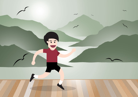 jogging in nature: running man in morning on wooden floor with sea and island landscape, health concept. vector illustration