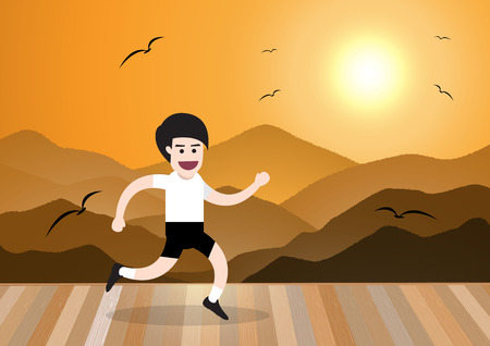 mountain view: running man in morning on wooden floor with mountain view landscape, health concept. vector illustration Illustration