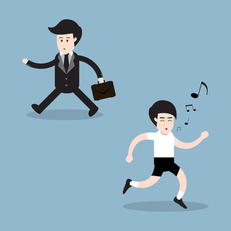 oppos: running man with whistling and businessman walking opposite direction, health concept. vector illustration