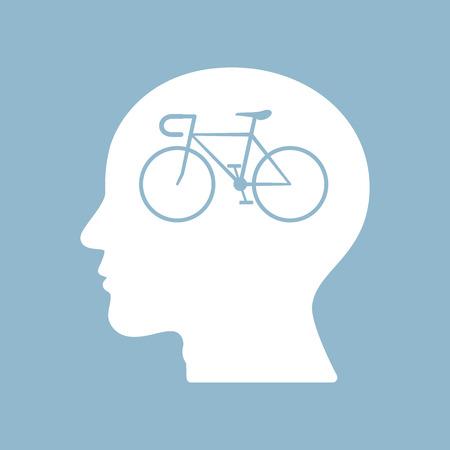 brain illustration: bicycle brain think man head. vector illustration Illustration