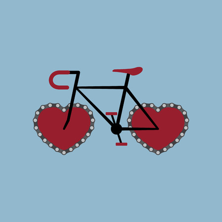 pursuit: bicycle with heart shape chain wheel. vector illustration