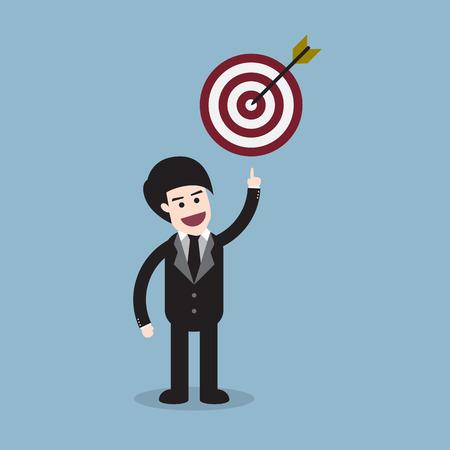 smart goals: Businessman showing target, goal concept vector illustration