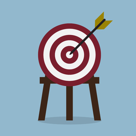 achieve goal: target with arrow, goal achieve concept. vector illustration