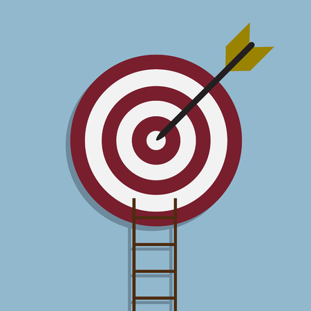 goal: target with arrow and ladder, goal achieve concept.