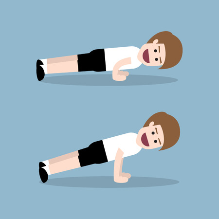 push up: push up by fitness man, fitness exercise concept. Illustration