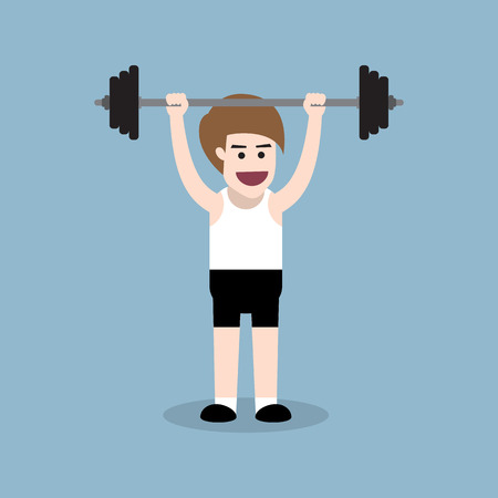 body building: barbell shoulder press exercise by fitness man, body building people concept. Illustration