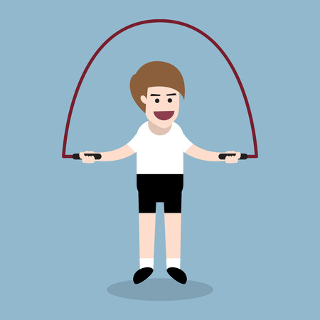 man jumping: jumping rope exercise by fitness man, fitness exercise concept. Illustration