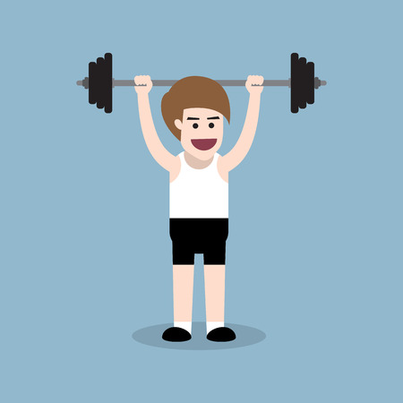 body building: barbell behind the neck press exercise by fitness man, body building people concept.