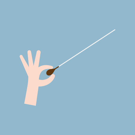 conductors: music orchestra conductor hand with baton, leadership concept. vector illustration Illustration