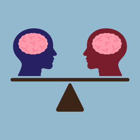 equity: thinking brain heads on weight scale, idea thinking comparison concept. vector illustration.