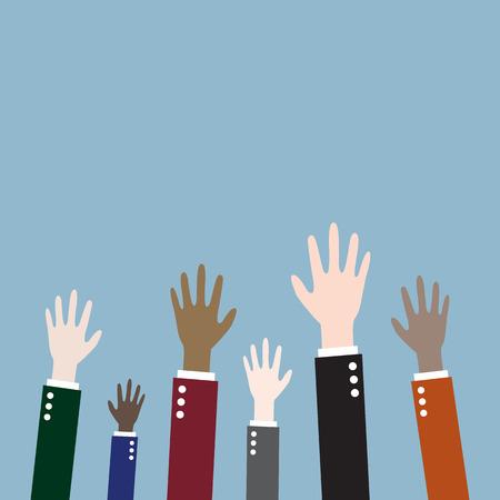raising up hands. vector illustration Illustration
