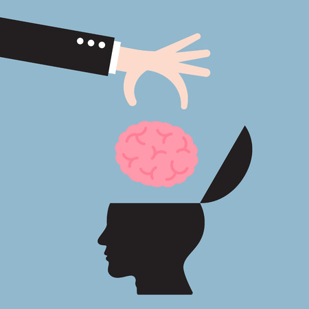 businessman hand put brain in human head, business idea concept. vector illustration.