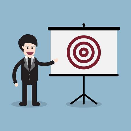 businessman with target presentation board, business goal concept. vector illustration.