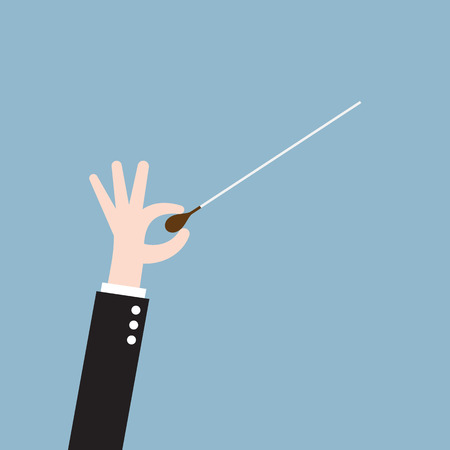 orchestra: music orchestra conductor hand with baton, leadership concept. vector illustration Illustration