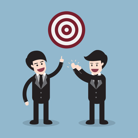 happy businessman: target with 2 happy businessman, success target teamwork concept.