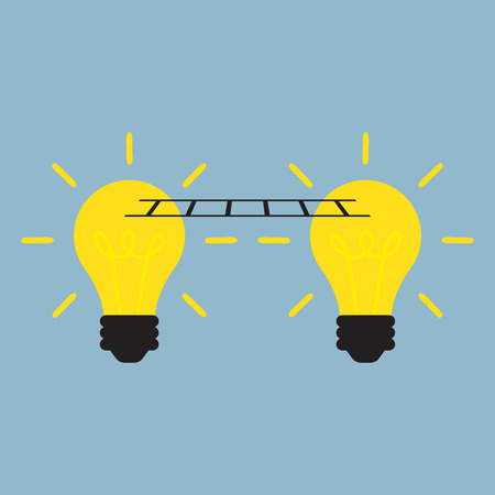 idea light bulb: idea connect together with light bulb and ladder, cooperation concept.  Illustration