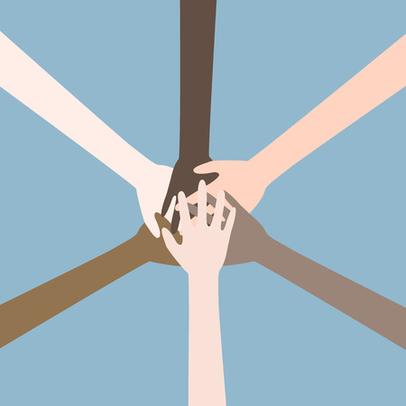 teamwork hands, collaboration concept. Illustration
