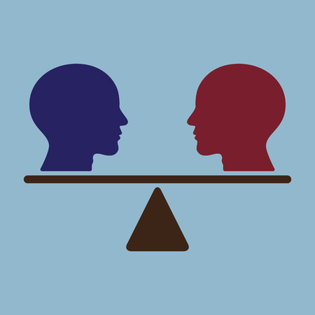 comparison: thinking heads on weight scale, idea thinking comparison concept.