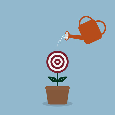 flower pots: watering target plant with watering can, goal concept.