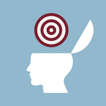 creative target: target goal on top of opened human head, creative target idea thinking concept.