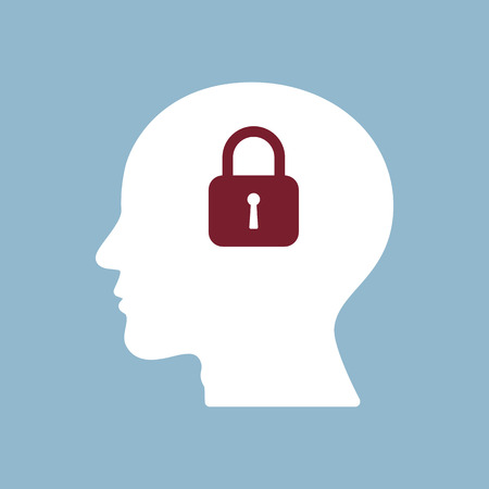 think safety: brain lock in human head, information security concept. Illustration