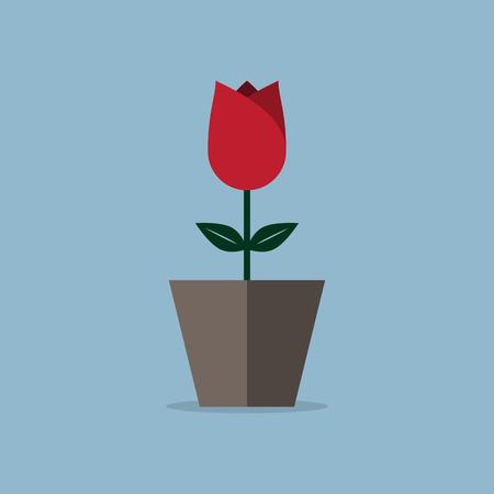 赤いバラの花ポット、愛の概念。ベクトル図