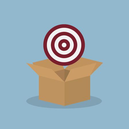 metas: Disparos a puerta en la caja abierta, meta el concepto de idea. ilustración vectorial