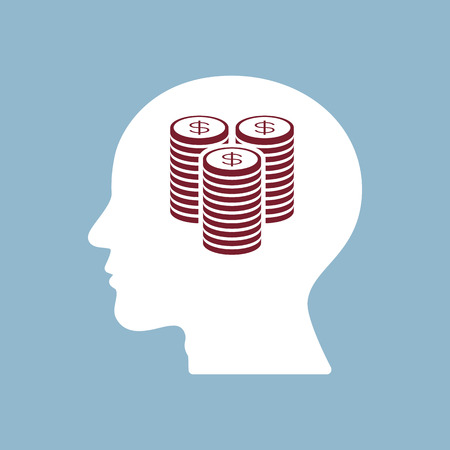 coin stack: money coin stack in human head, finance concept. vector illustration Illustration