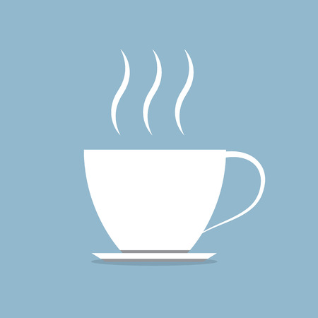 stream: white hot coffee cup with stream vector illustration